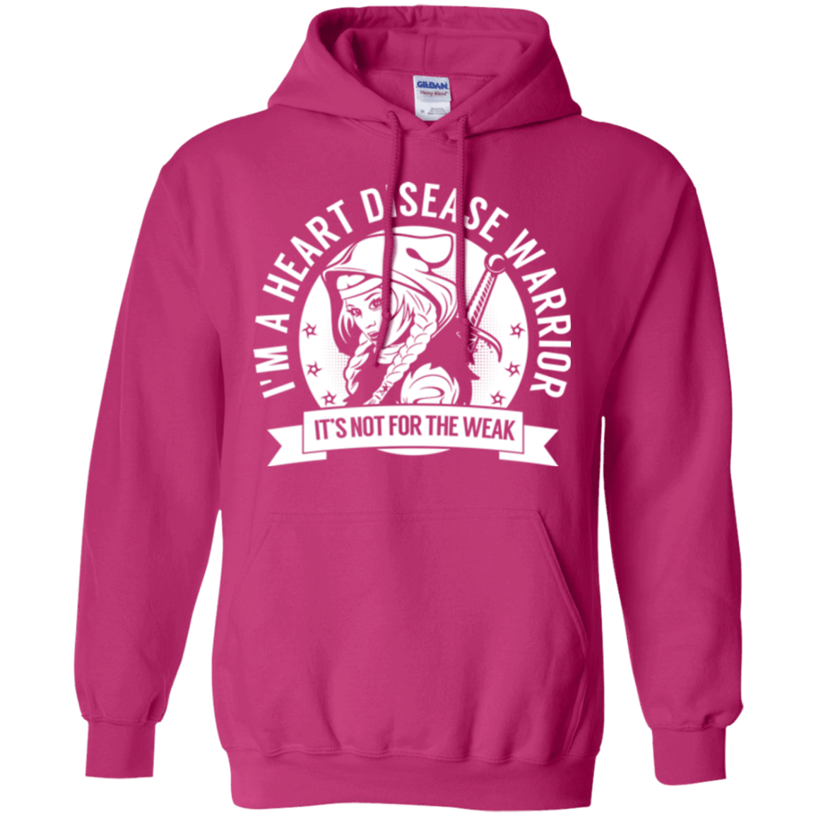 Heart Disease Warrior Hooded Pullover Hoodie 8 oz. - The Unchargeables