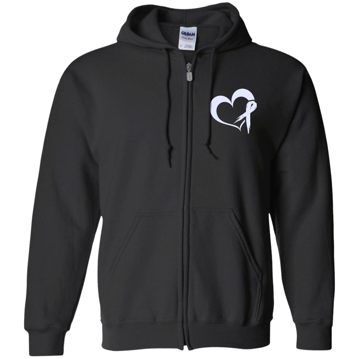 Sweatshirts - Heart Ribbon Zip Up Hooded Sweatshirt