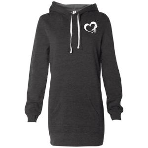 Heartribbon White Women's Hooded Pullover Dress - The Unchargeables