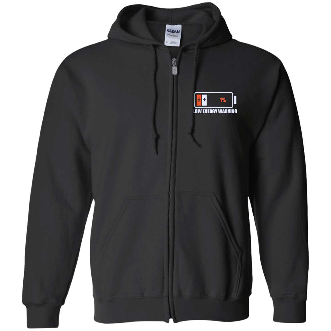 Low Energy Warning Zip Up Hooded Sweatshirt - The Unchargeables