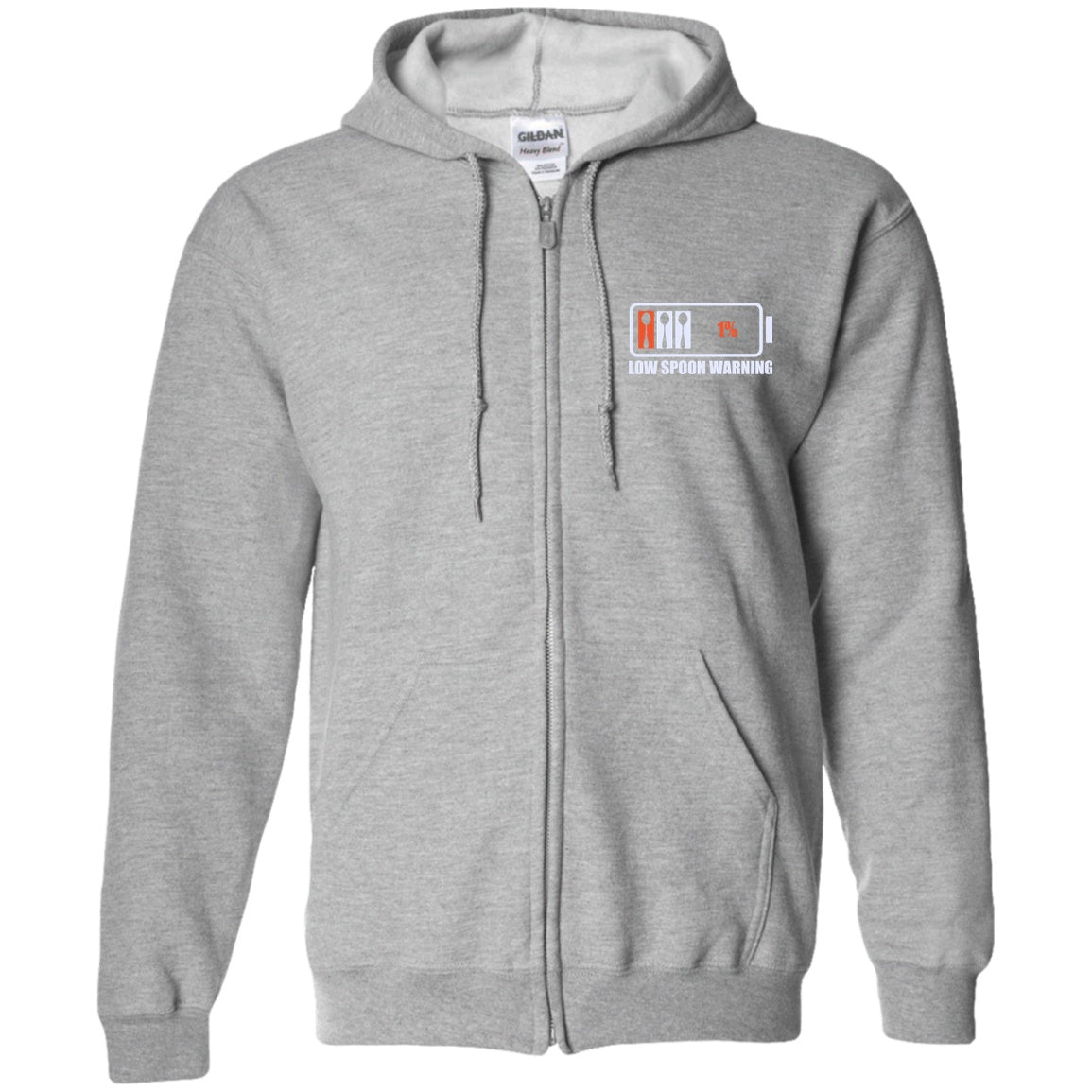 Low Spoon Warning Zip Up Hooded Sweatshirt - The Unchargeables