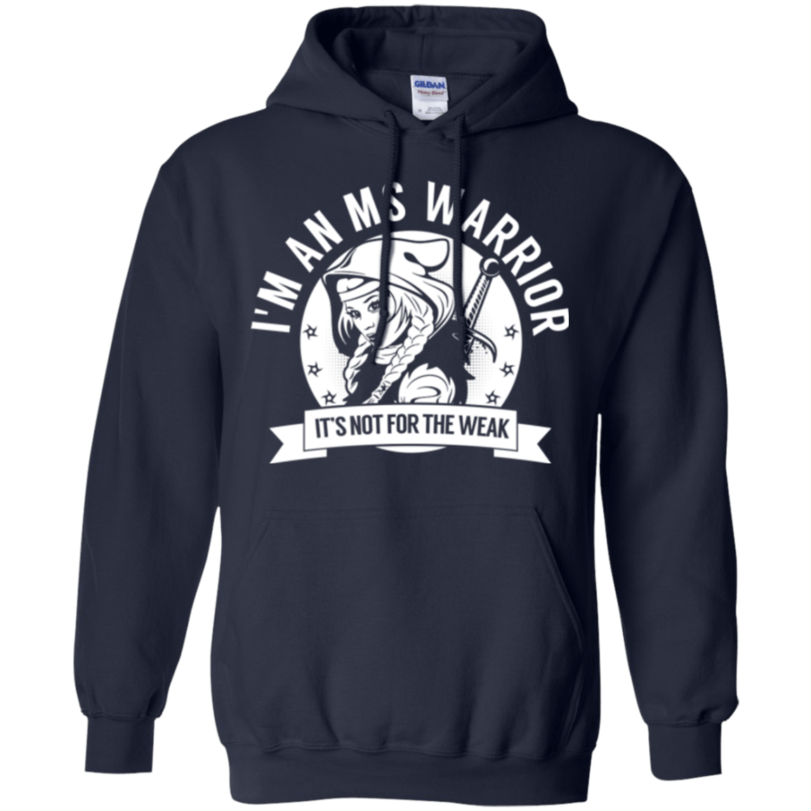 Multiple Sclerosis - MS Warrior Hooded Pullover Hoodie 8 oz. - The Unchargeables