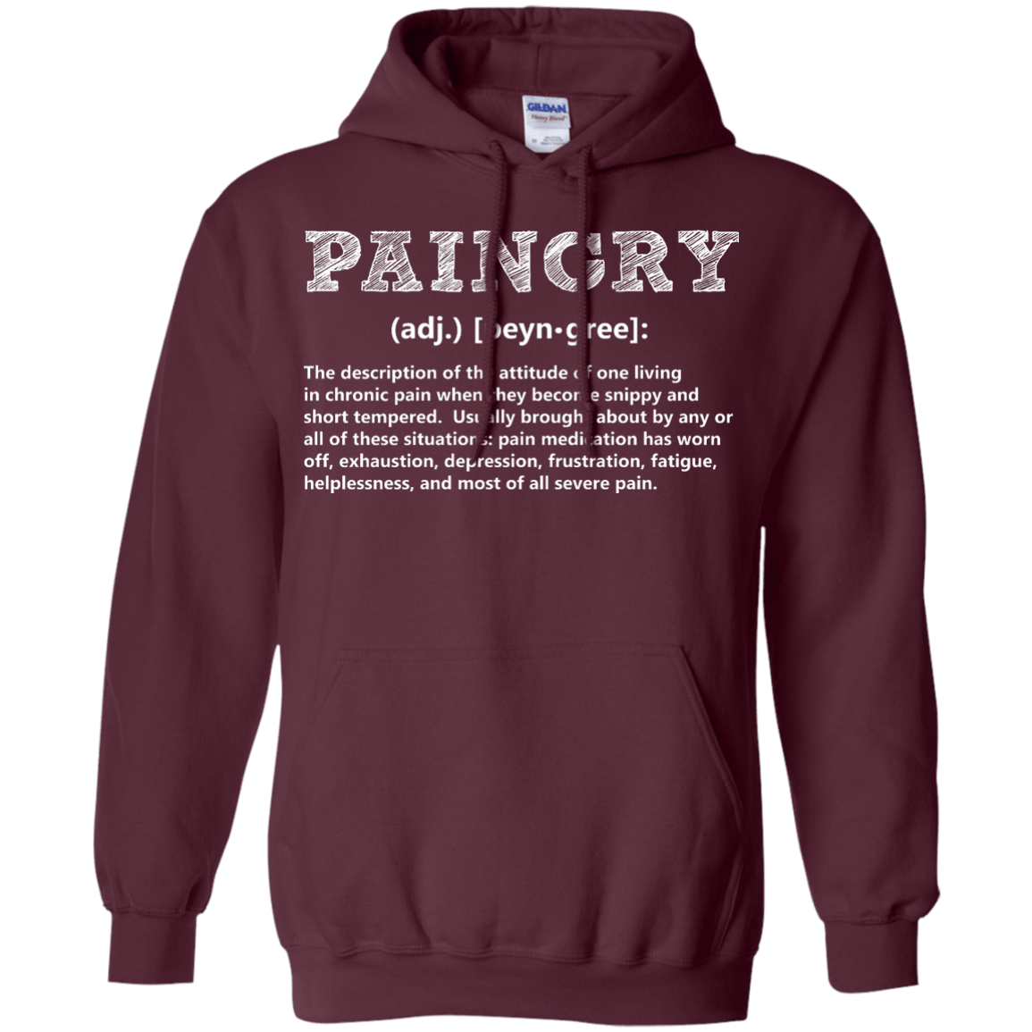 Paingry Definition Pullover Hoodie 8 oz - The Unchargeables