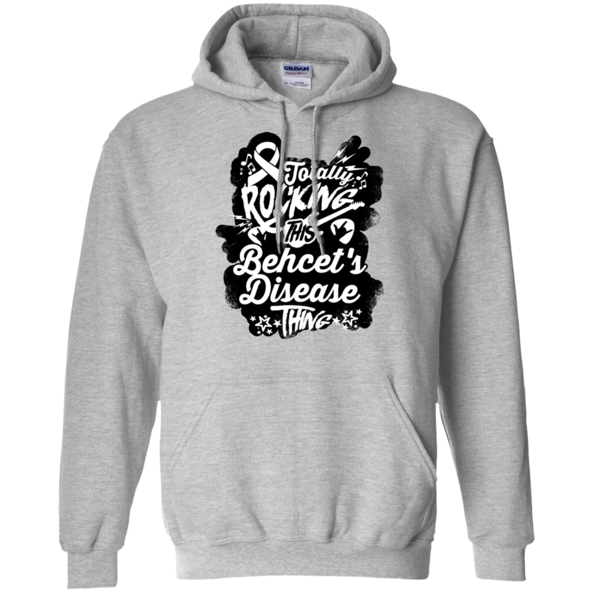 Rocking Behcet's Disease Pullover Hoodie 8 oz. - The Unchargeables