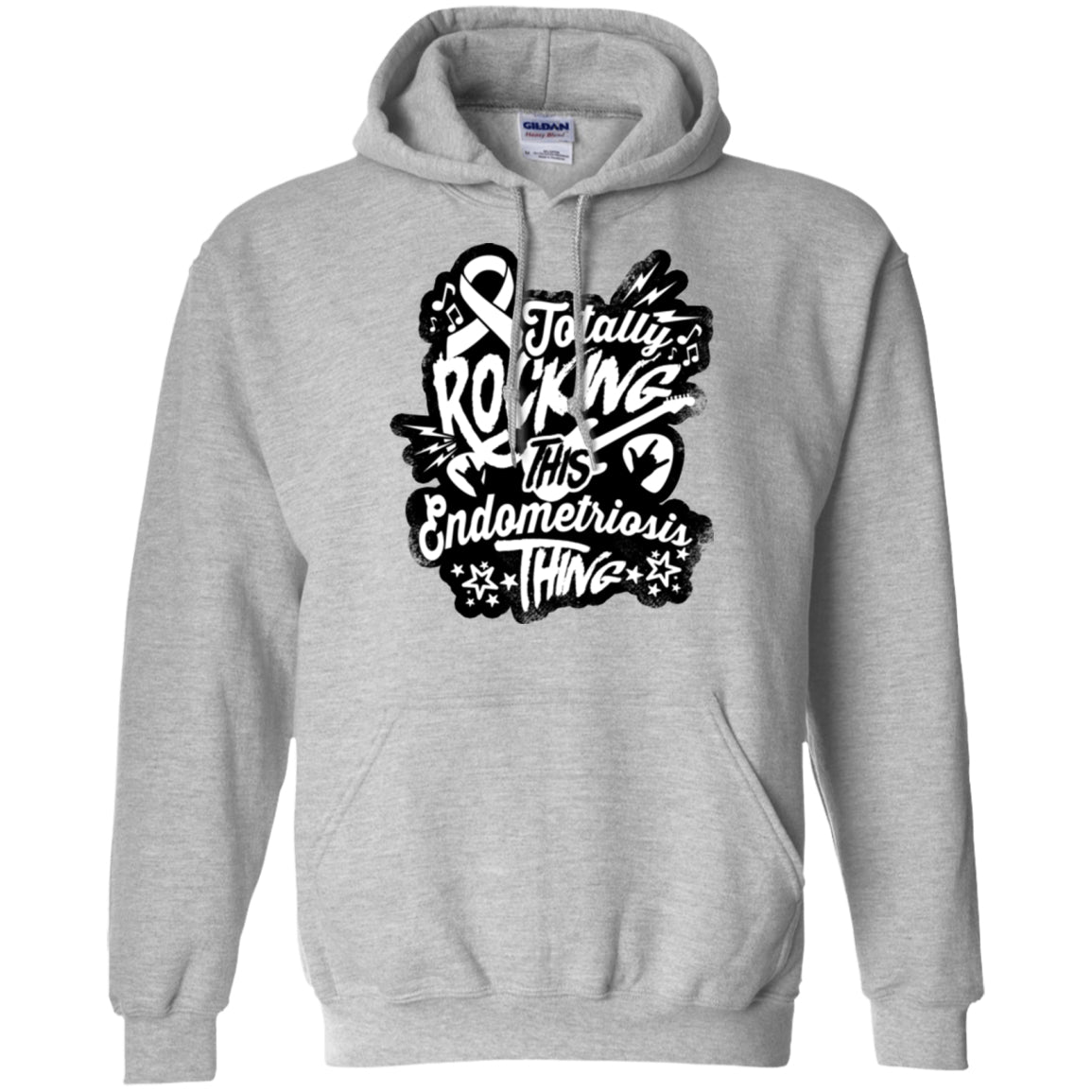 Rocking Endometriosis Pullover Hoodie 8 oz. - The Unchargeables