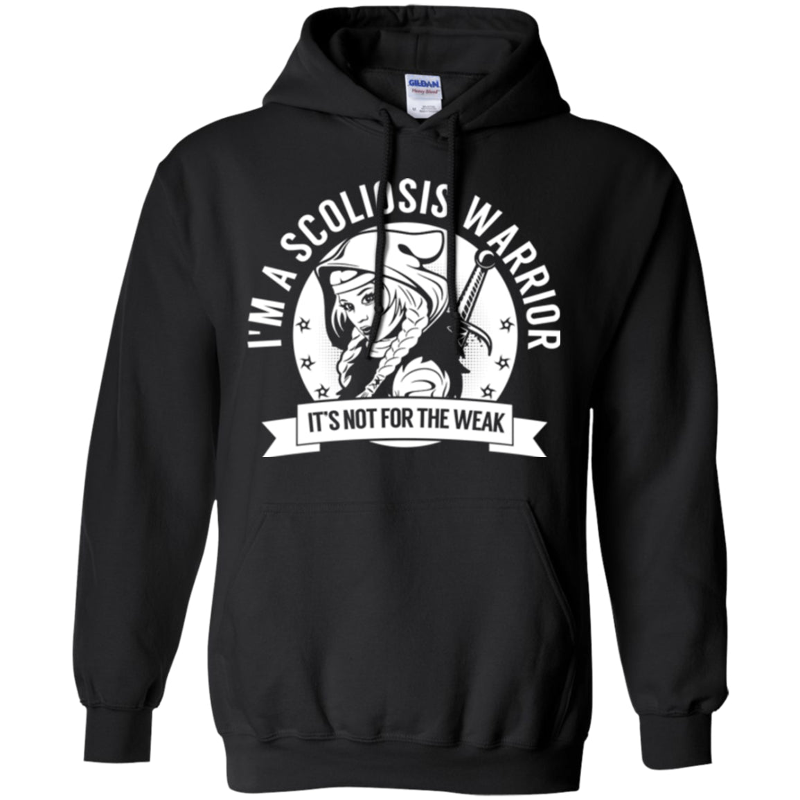 Scoliosis Warrior Hooded Pullover Hoodie 8 oz. - The Unchargeables