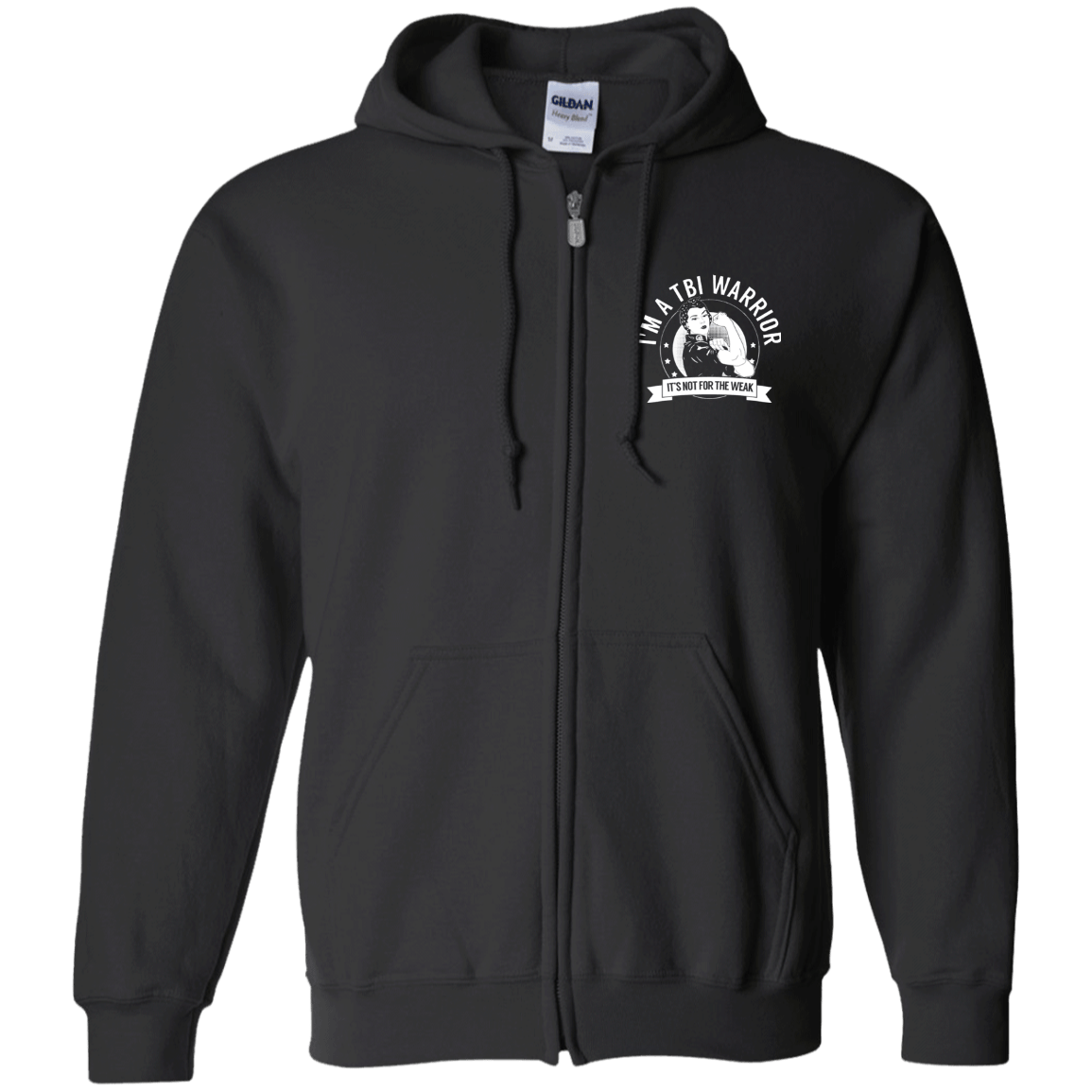 Traumatic Brain Injury - TBI Warrior NFTW Zip Up Hooded Sweatshirt - The Unchargeables