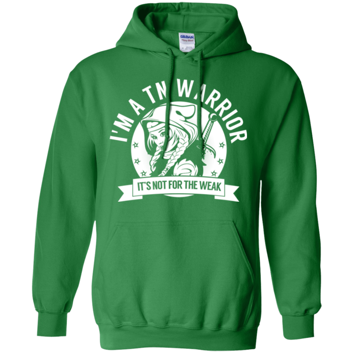 Trigeminal Neuralgia - TN Warrior Hooded Pullover Hoodie 8 oz. - The Unchargeables