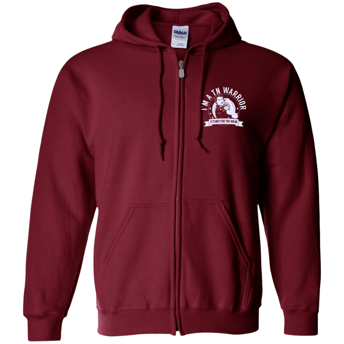 Trigeminal Neuralgia - TN Warrior NFTW Zip Up Hooded Sweatshirt - The Unchargeables