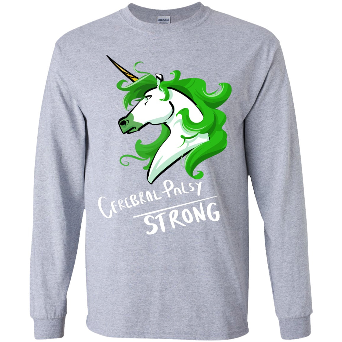 Cerebral Palsy Strong Unicorn Youth Long Sleeve Unisex - The Unchargeables