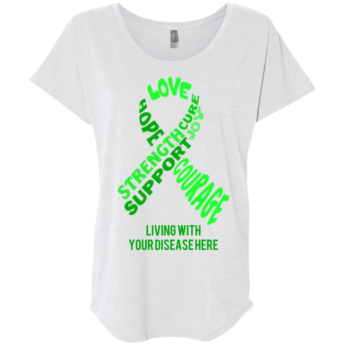Customisable Green Awareness Ribbon With Words Dolman Sleeve - The Unchargeables