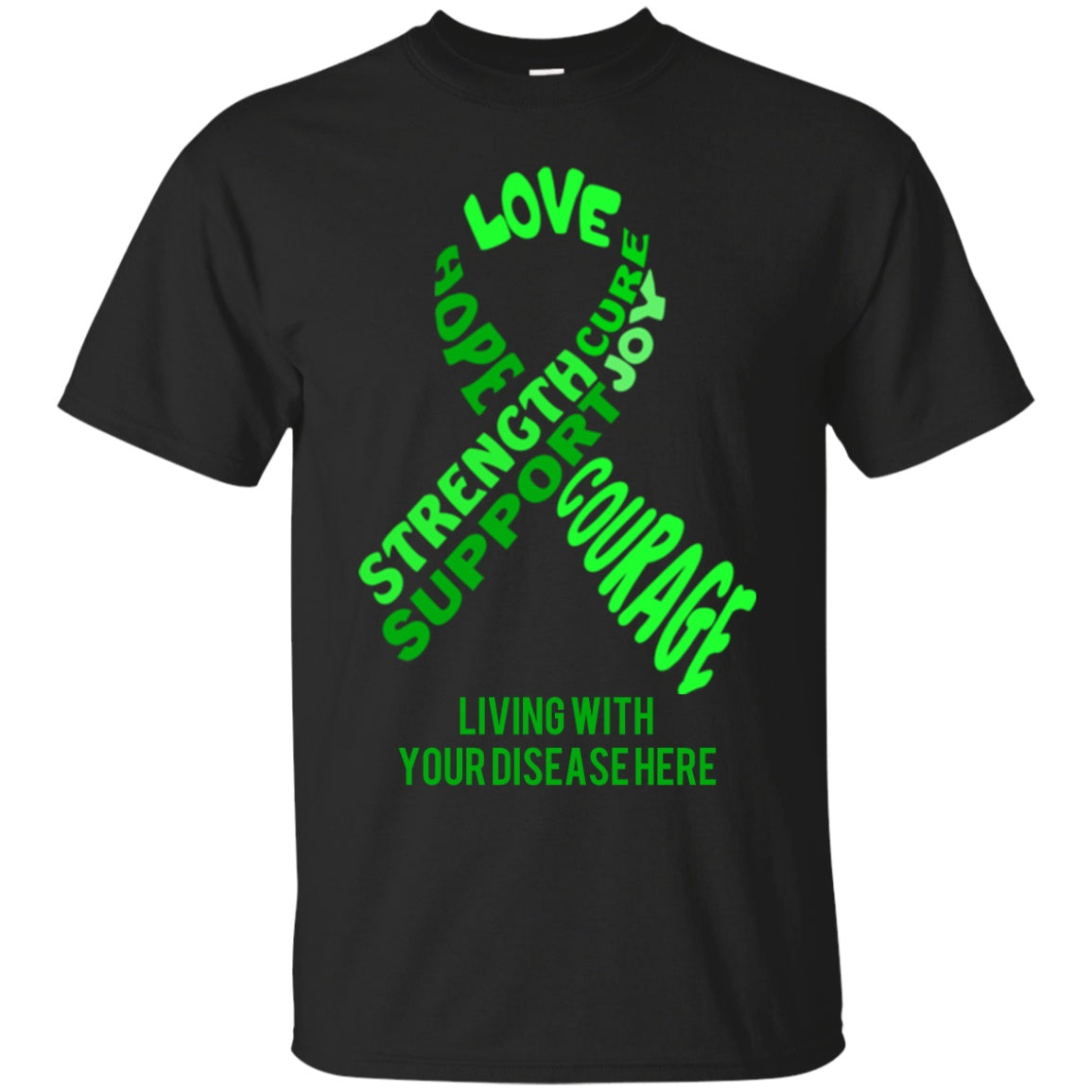 Customisable Green Awareness Ribbon With Words Unisex Shirt - The Unchargeables