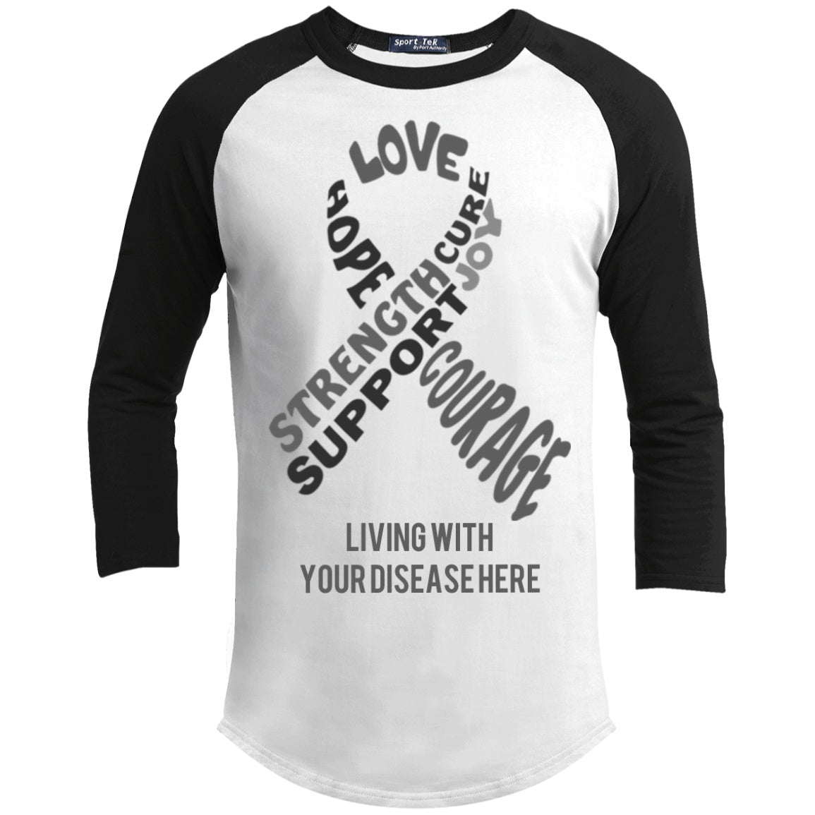 Customisable Grey Awareness Ribbon With Words Baseball Shirt - The Unchargeables