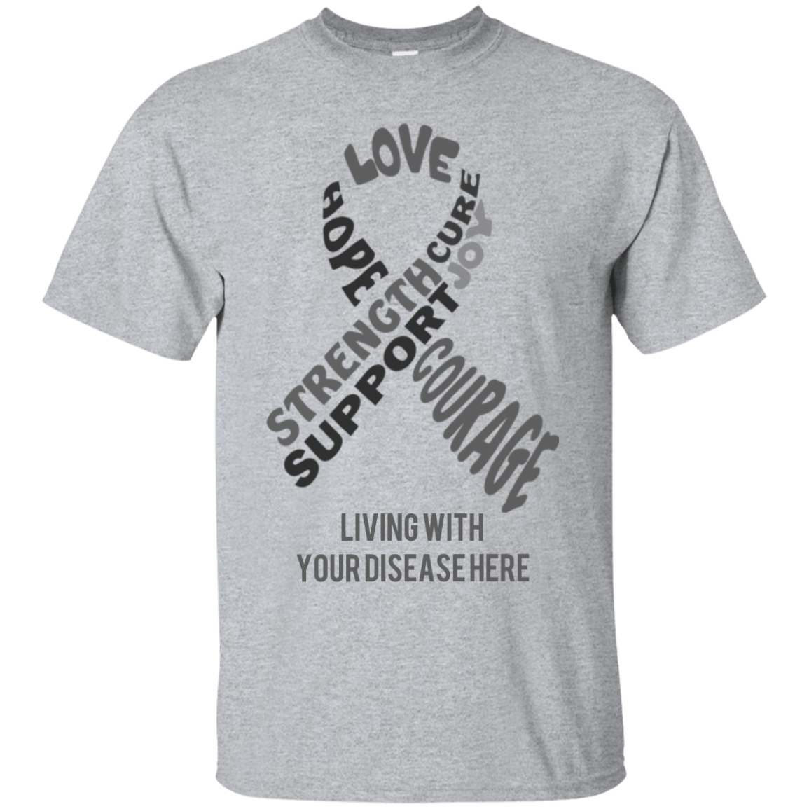 Customisable Grey Awareness Ribbon With Words Unisex Shirt - The Unchargeables