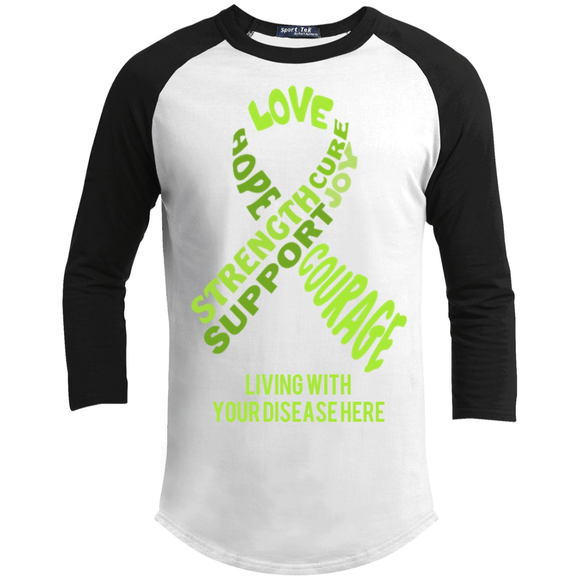 Customisable Lime Green Awareness Ribbon With Words Baseball Shirt - The Unchargeables