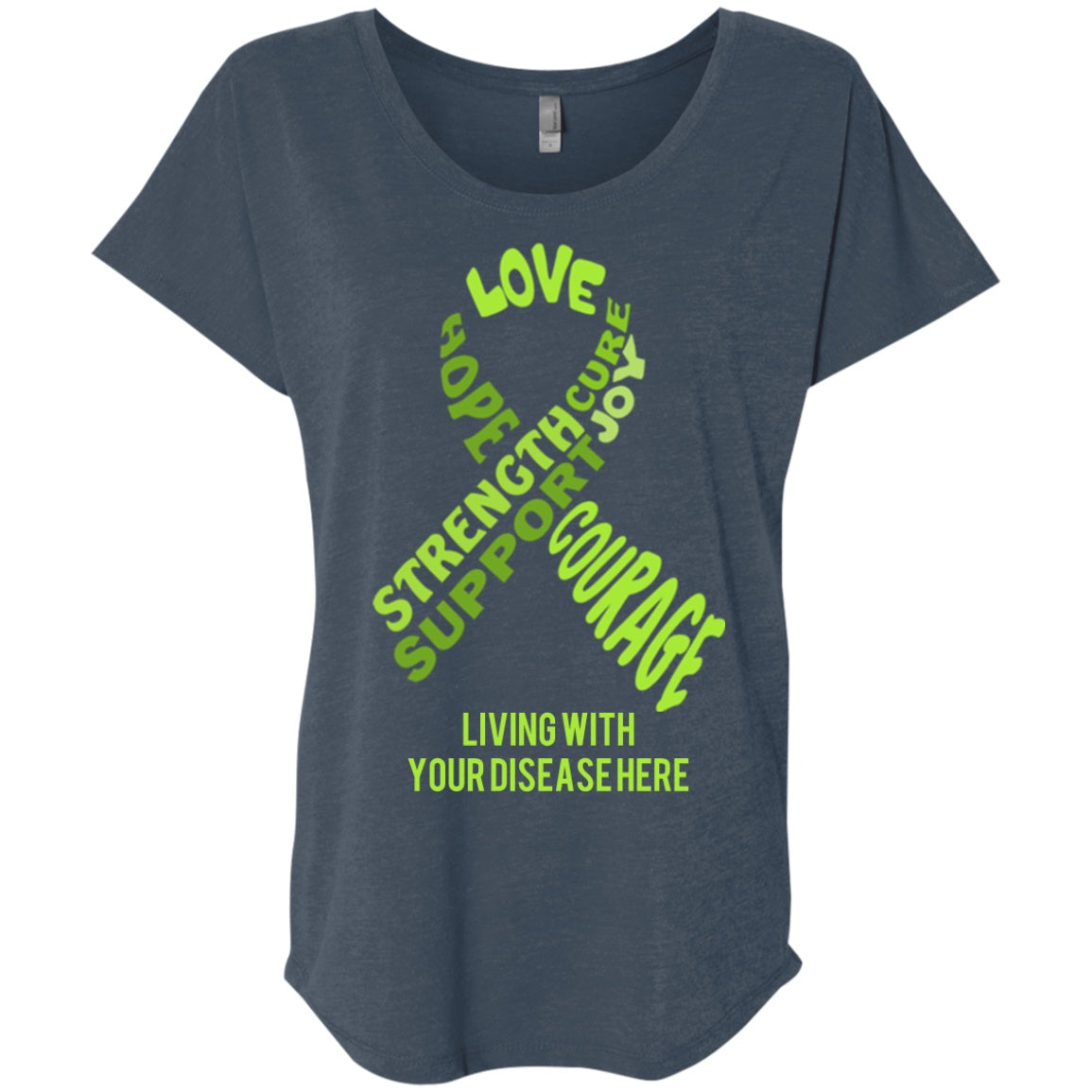 Customisable Lime Green Awareness Ribbon With Words Dolman Sleeve - The Unchargeables