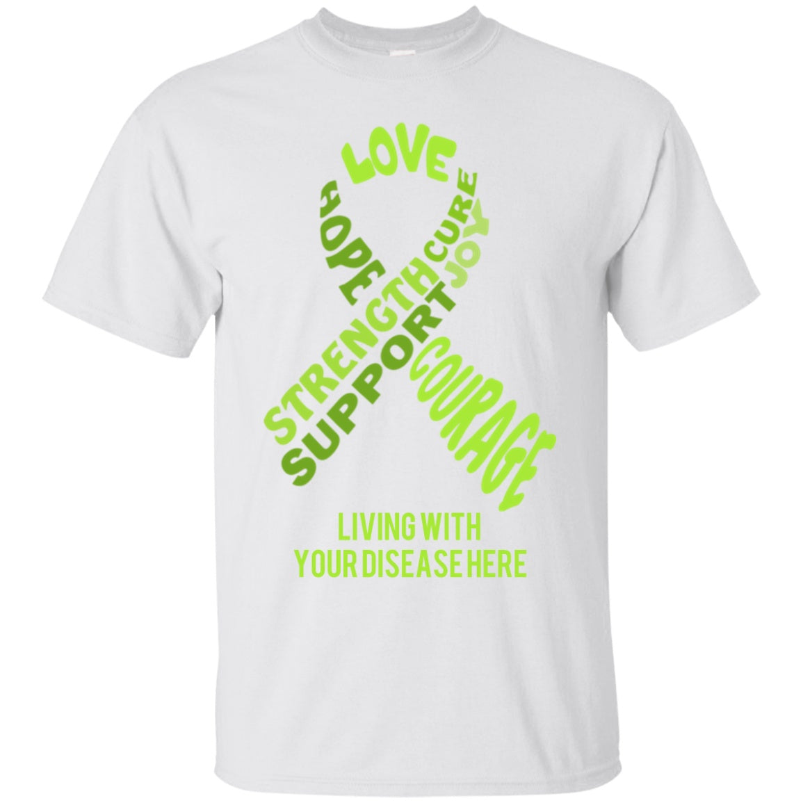 Customisable Lime Green Awareness Ribbon With Words Unisex Shirt - The Unchargeables