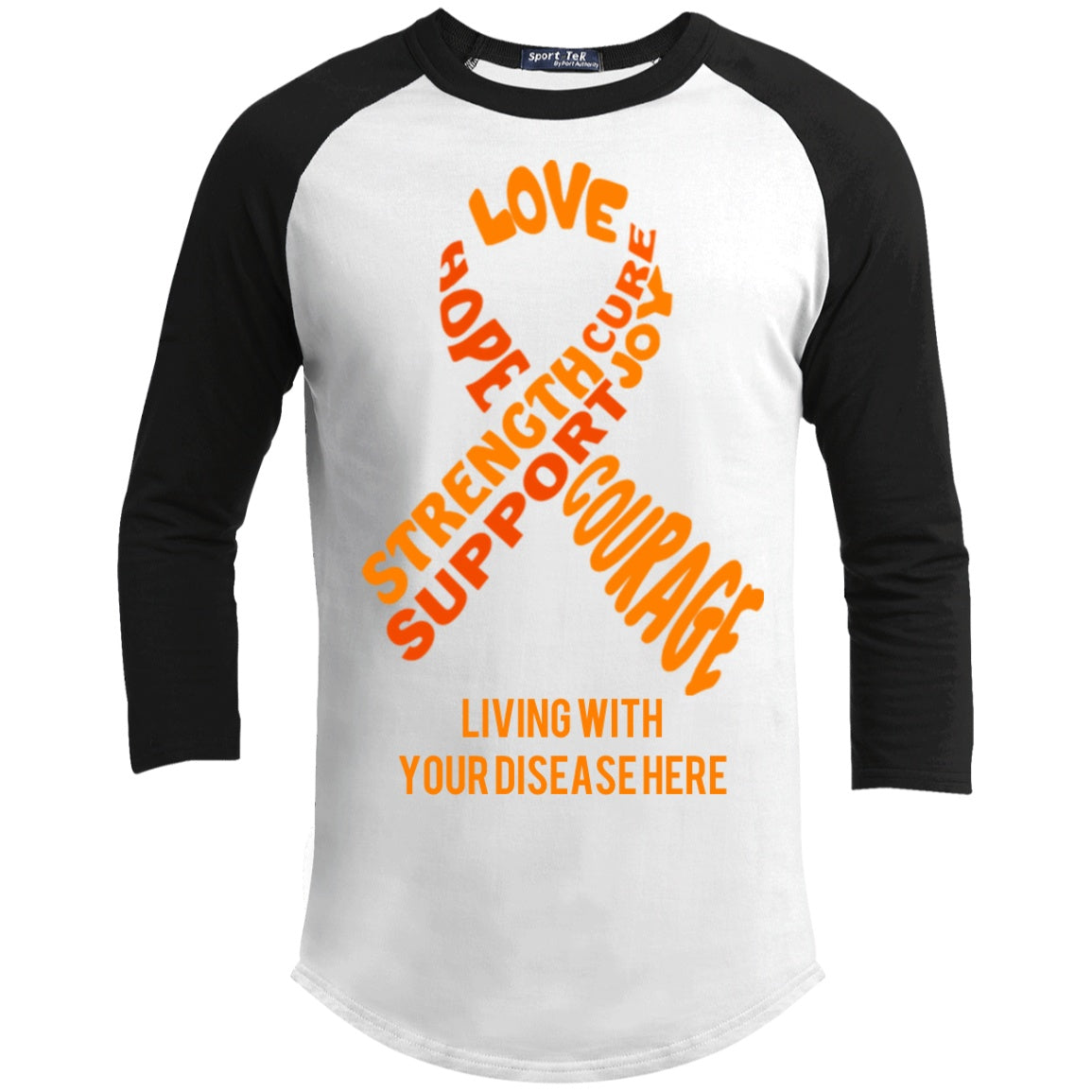 Customisable Orange Awareness Ribbon With Words Baseball Shirt - The Unchargeables