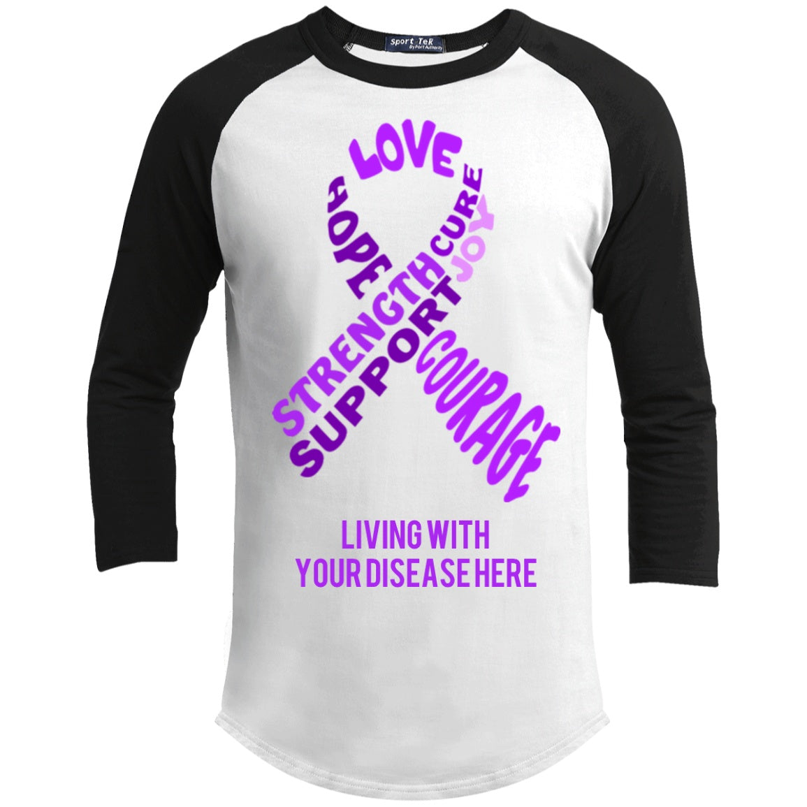 Customisable Purple Awareness Ribbon With Words Baseball Shirt - The Unchargeables