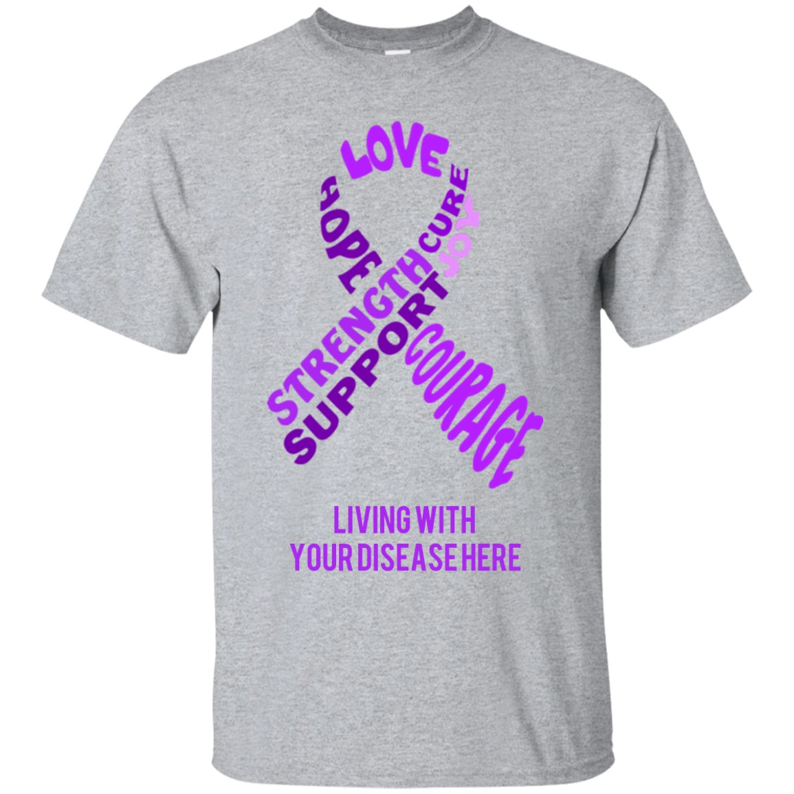 Customisable Purple Awareness Ribbon With Words Unisex Shirt - The Unchargeables