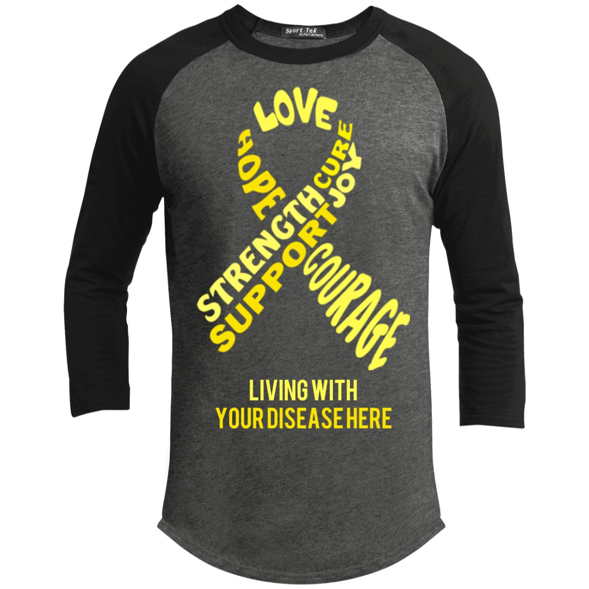 T-Shirts - Customisable Yellow Awareness Ribbon With Words Baseball Shirt