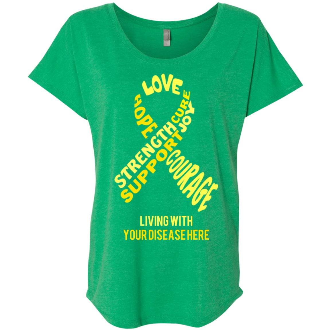 T-Shirts - Customisable Yellow Awareness Ribbon With Words Dolman Sleeve