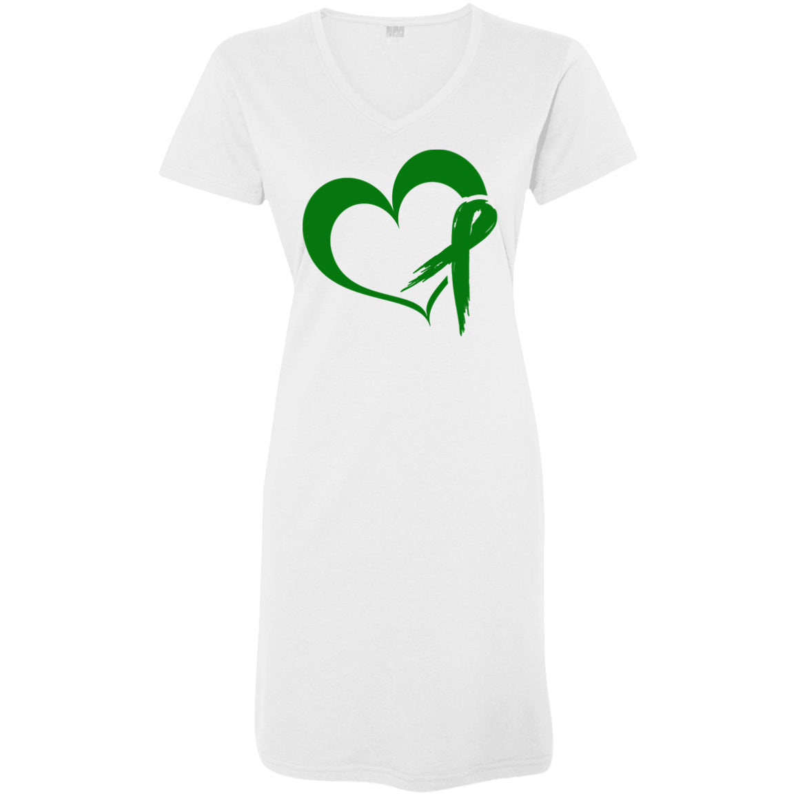 Heart Ribbon Green T-Shirt Dress - The Unchargeables