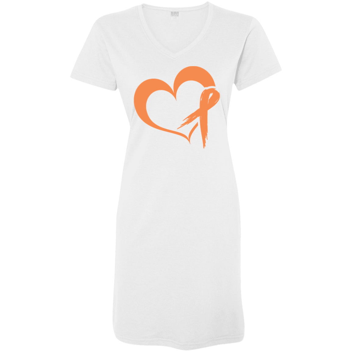 Heart Ribbon Orange T-Shirt Dress - The Unchargeables