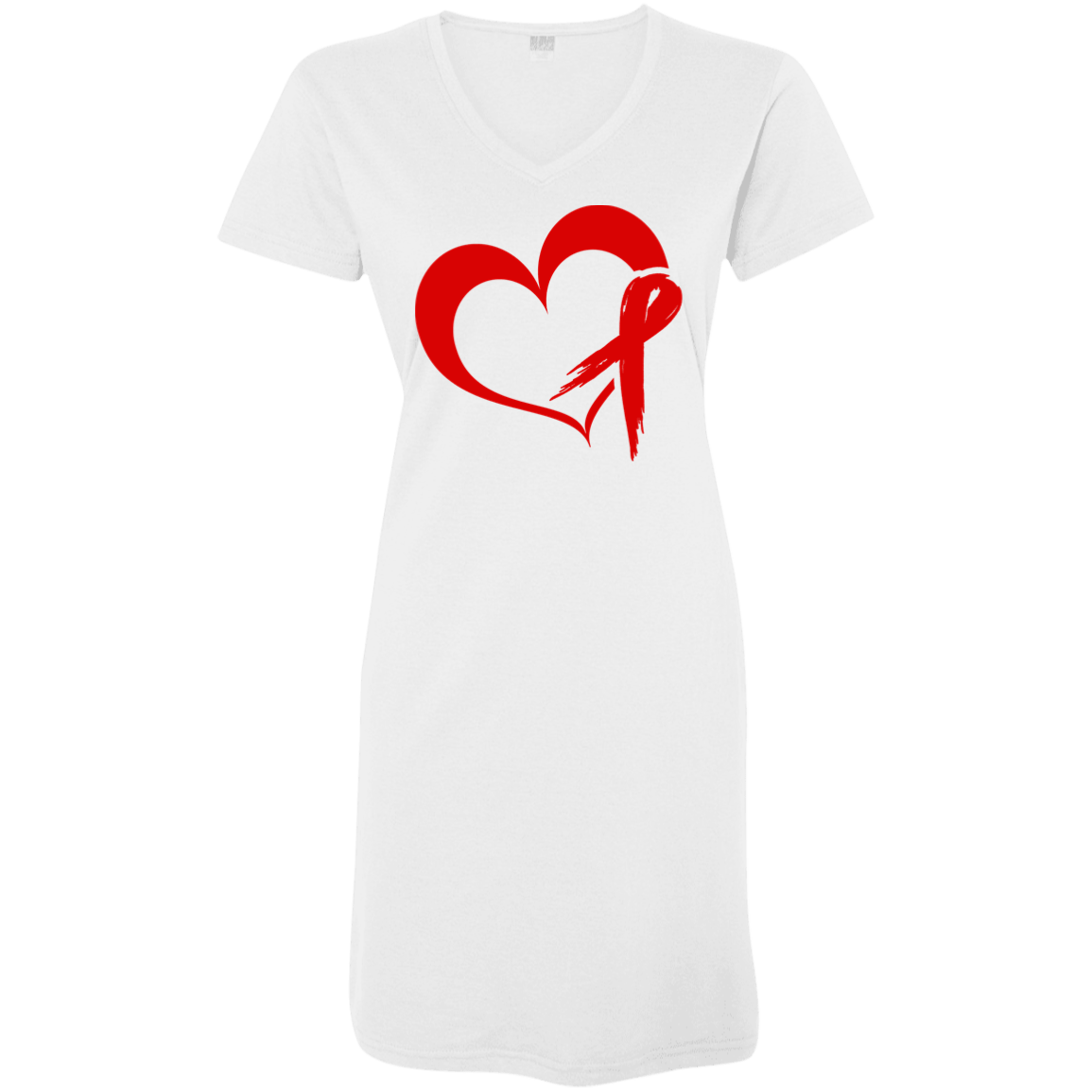 Heart Ribbon Red T-Shirt Dress - The Unchargeables