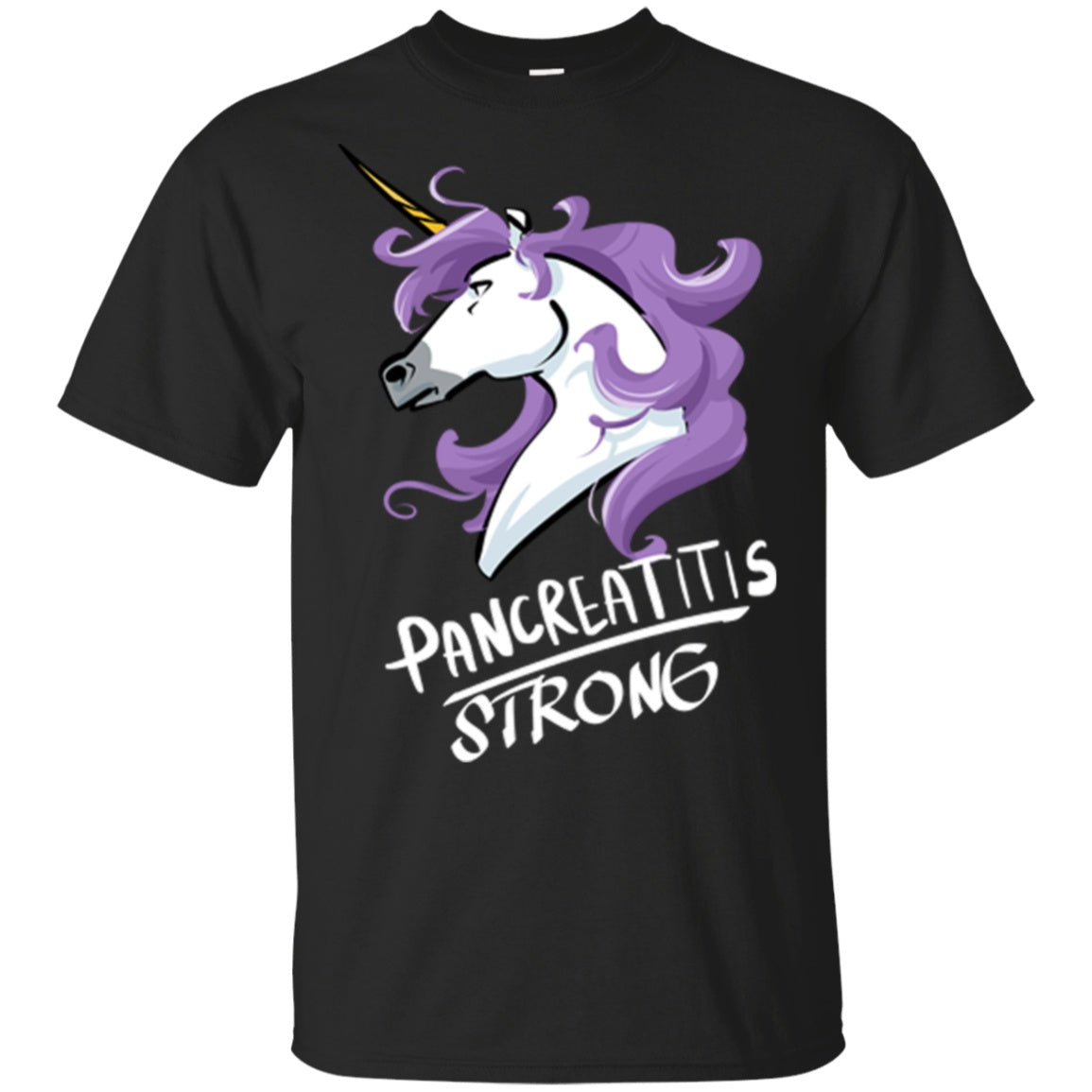 Pancreatitis Strong Unicorn Cotton Unisex T-Shirt - The Unchargeables