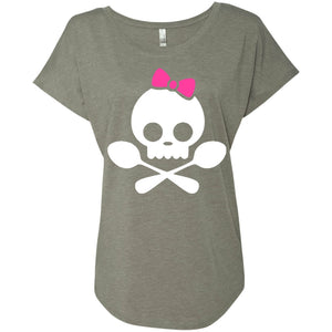 Spoonie Skull Pink Bow Dolman Sleeve - The Unchargeables