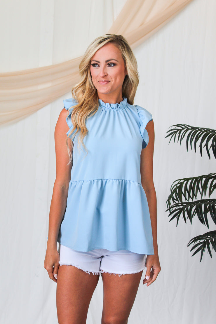 Red Hot Ribbed Flare Top