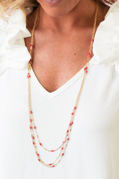Isn't She Lovely Layered Necklace - Red