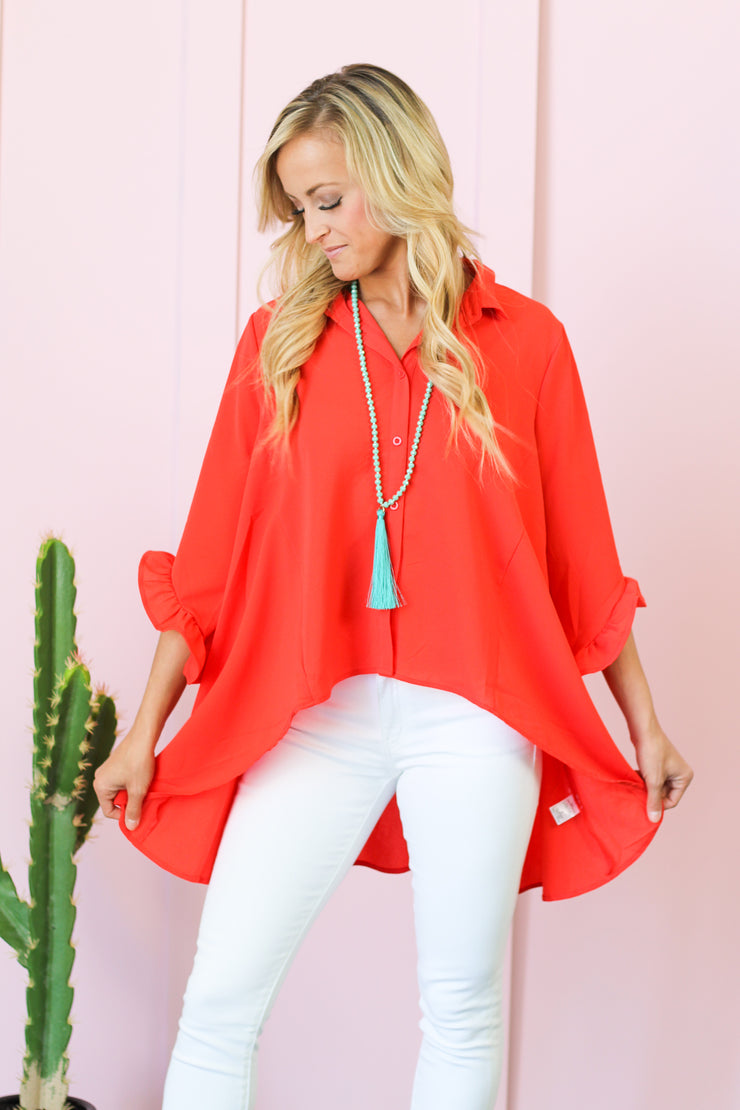 Class Act Asymmetrical Blouse - Tomato Red
