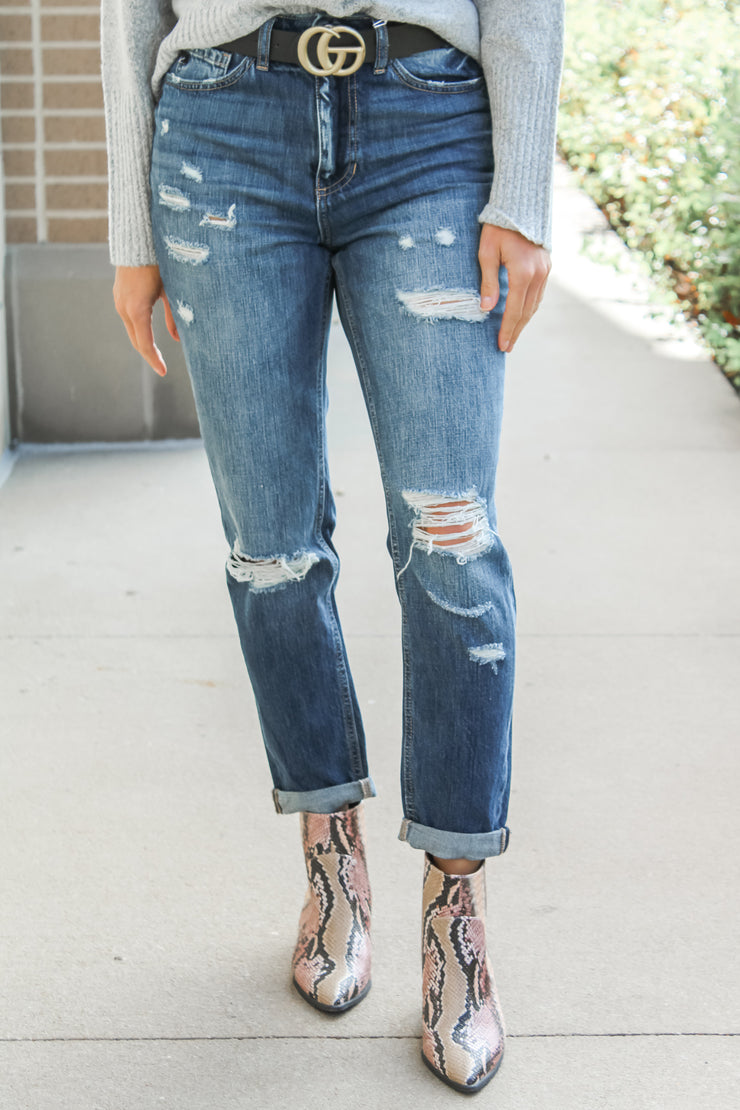 The Liv Dark Washed Boyfriend Jeans