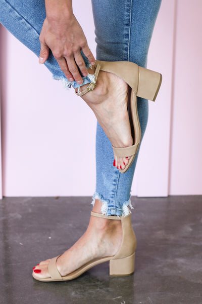 The Kelly Nude Ankle Strap Heels