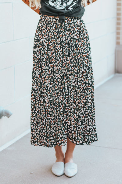 Blog City Leopard Maxi Skirt - Black