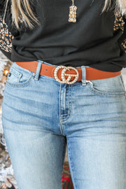 Attention Getter Pearl Belt - Brown
