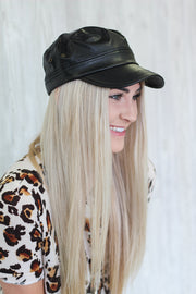 Tip Top Leather Newsboy Cap