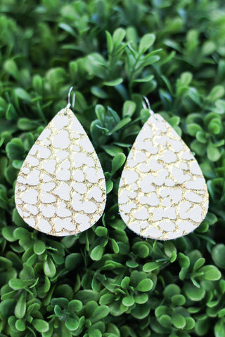White & Gold Leather Earrings