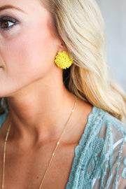 Sunburst Bead Earrings - Yellow