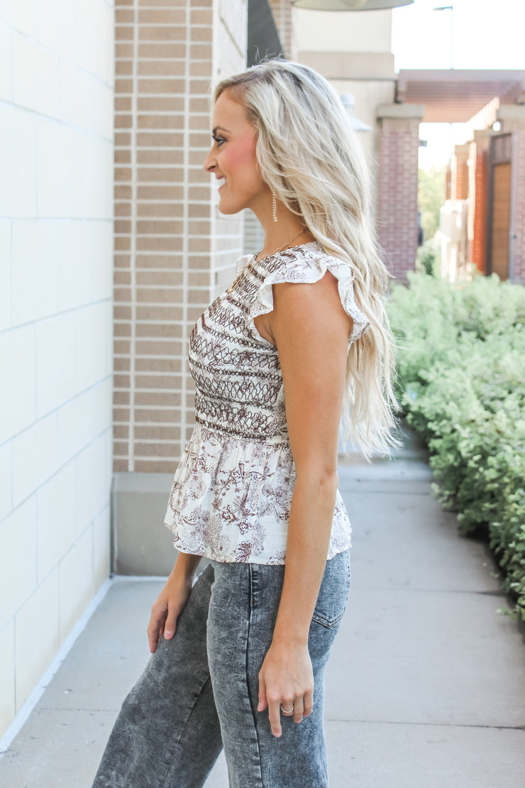 Starry Night Bubble Sleeve Blouse