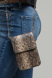 On The Go Snake Print Crossbody - Brown