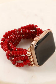 Tyler Beaded Apple Watch Bracelet - Red