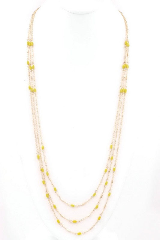 Isn't She Lovely Layered Necklace - Yellow