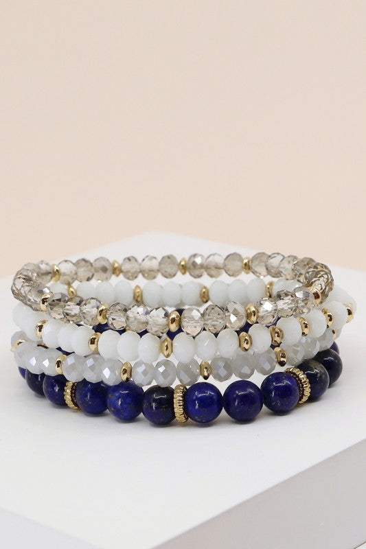 Dream Day Navy Beaded Bracelet Set