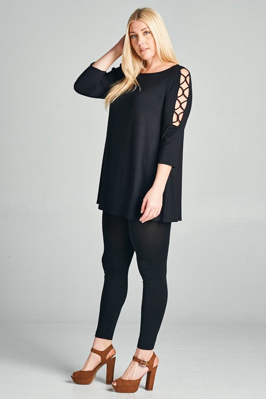 Don't Cross Me Tunic - Black