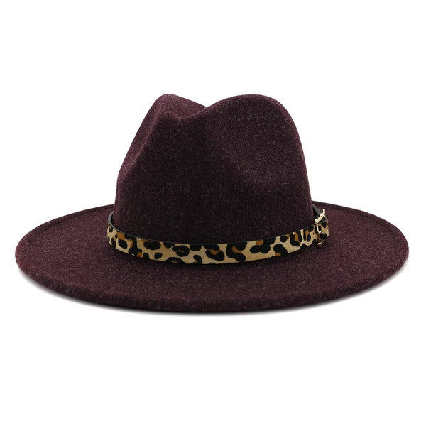 Around Town Leopard Belt Hat - Plum