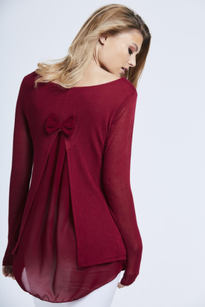 Wine Fine Knit Chiffon Bow Back Top One Size