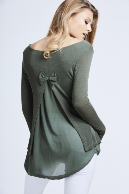 Khaki Fine Knit Chiffon Bow Back Top One Size